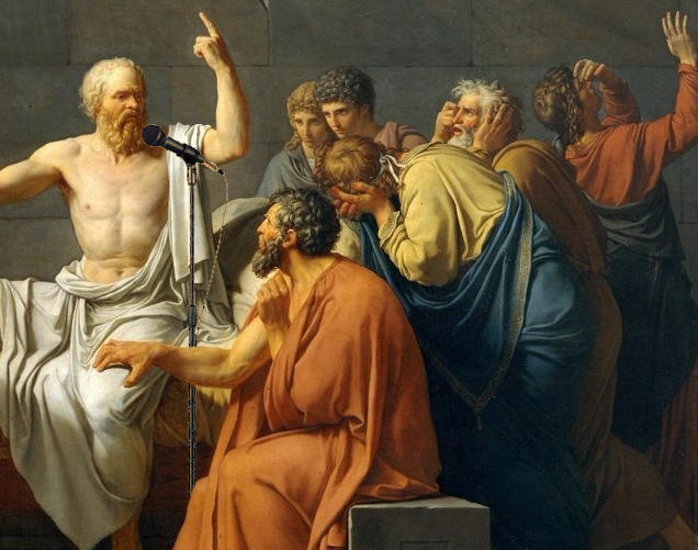 Socrates talking into a mic